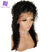 LUFFY 5*4.5 Silk Base Glueless Full Lace Wigs Malaysian Curly Human Hair With Baby Hair Pre Plucked Natural Hairline Non Remy