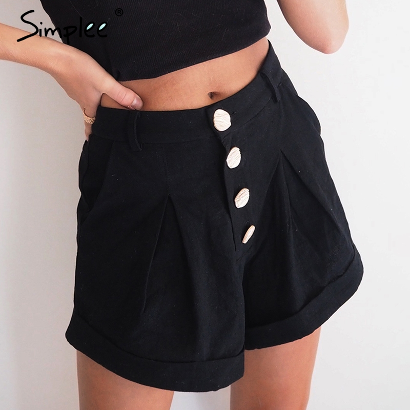 Simplee Casual buttons summer women cotton   shorts   High waist female hot   shorts   Solid black soft ladies streetwear   shorts   2019