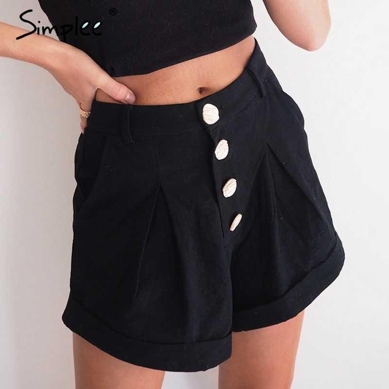 Женские хлопчатобумажные черные шорты Simplee, однотонные повседневные шорты с высокой талией и пуговицами, мягкие уличные шорты на лето, 2019