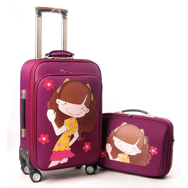 YISHIDUN women A set suitcase bags, Cute cartoon trolley case, new style, girl Rolling travel luggage bag , lock, mute,12 20 24