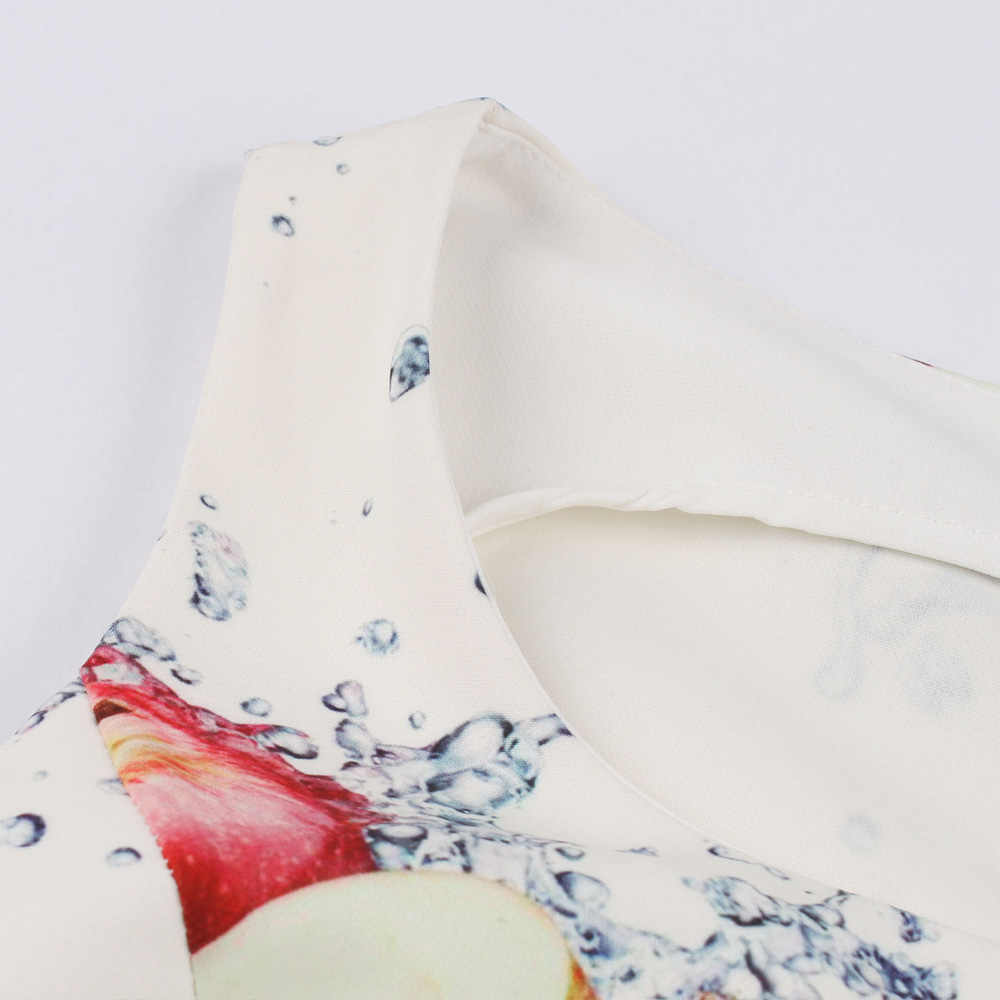 Большие размеры, летнее винтажное платье с принтом яблока, без рукавов, высокая талия, а-силуэт, вечерние платья, 60 s, свободное ретро платье