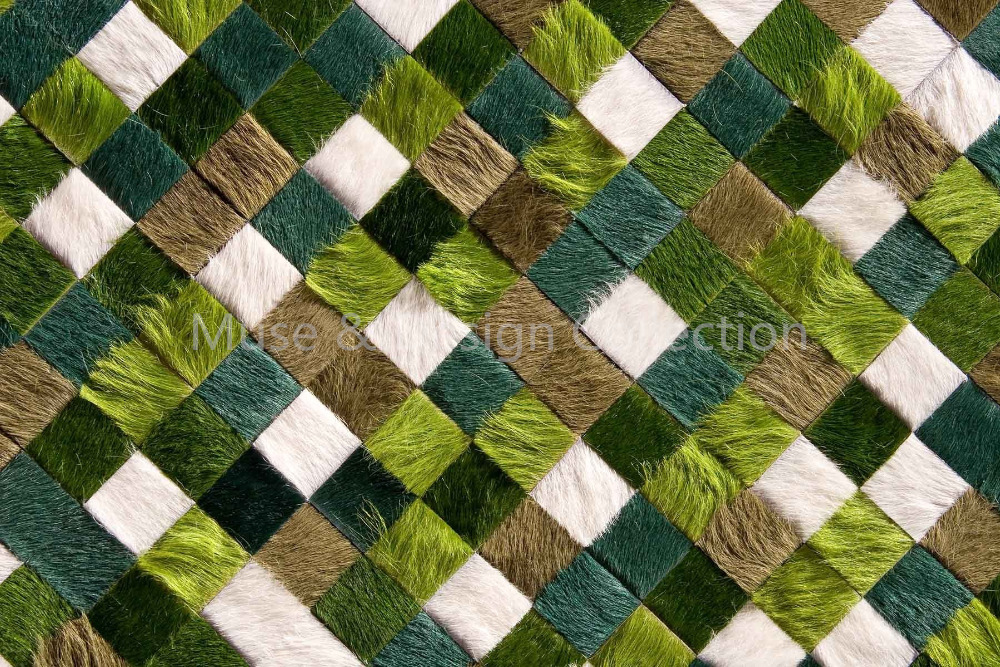 Customized Natural glued Patchwork Cowhide Rug Carpet