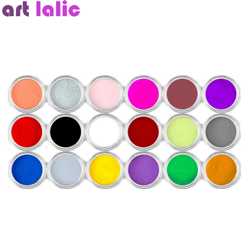 18 Colors Acrylic Powder Nail Decoration For Nail Art Powder Sparkle Dust Acrylic UV Powder Dust Carving Sculpture Pigment