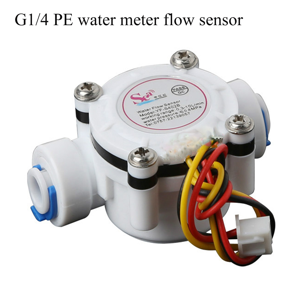 Water Flow Sensor DN8 Water Flow PE Pipe Water Flow Meter 0.3-8L/MIN Quick Connection Water Dispenser G1/4 Inch Flowmeter