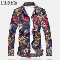 Mens Casual Flowers Dress Shirts Loose Type Shirt Long Sleeve Floral Blouse Male Autumn Winter Plus Size 6XL 7XL Orange Red K70