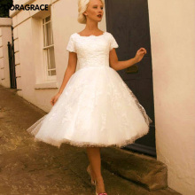New Arrival Romantic Applique Mid-Calf Short Wedding Gowns Designer Dresses With Sleeve DG0120