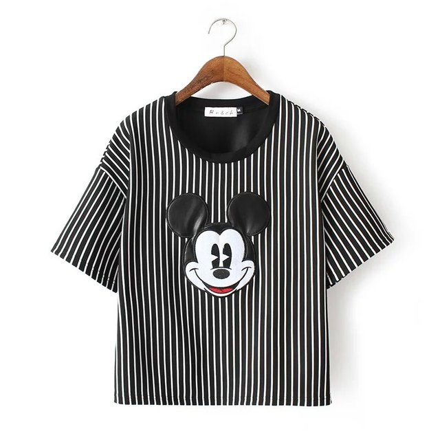 2016 summer new European style vertical stripes loose round neck short sleeve Size Mickey embroidery casual T-shirt