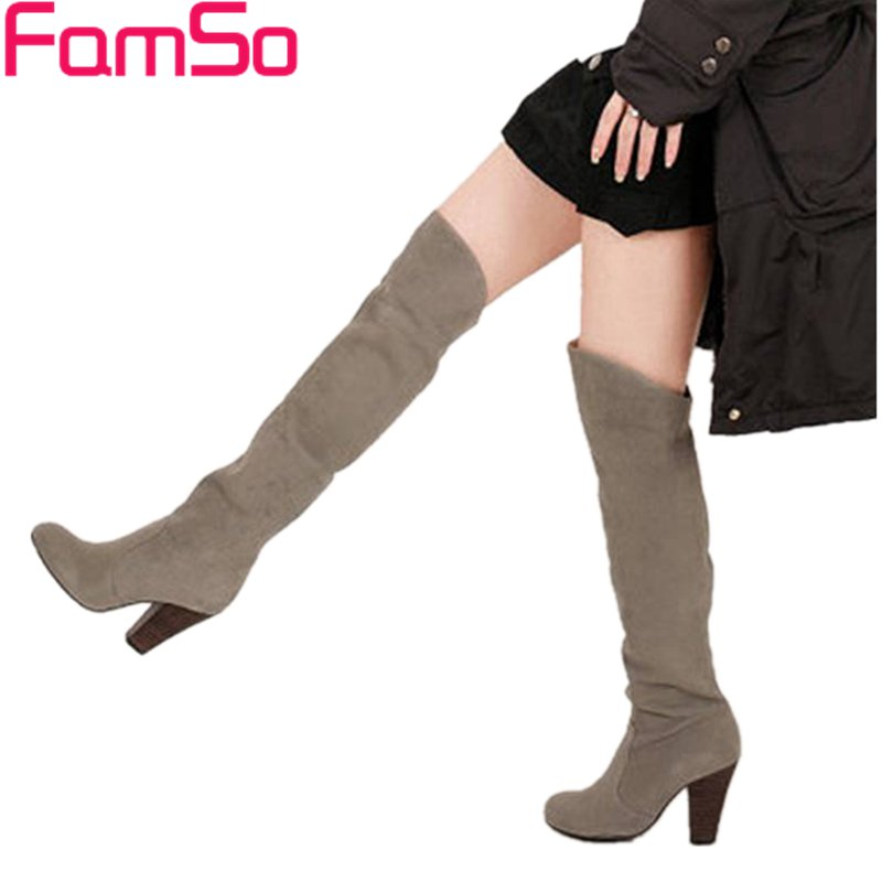 FAMSO Size34-43 2017 New Sexy Women Knee High Boots Autumn high thick Heels Motorcycle boots Winter Snow Boots For Female стоимость