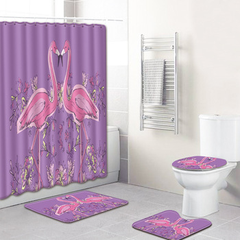 4Pcs Love Flamingo Pattern Bathroom Shower Curtain Pedestal Toilet Seat Mat+Lid+Bath Mat Home Decor Anti Slip Carpet