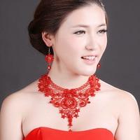 Frauen Eelgance Blume Form Mit Faux Perle Rote Spitze Halskette und ohrring Schmuck-Set für Party Kleid oder Braut Geschenk Schmuck-Set
