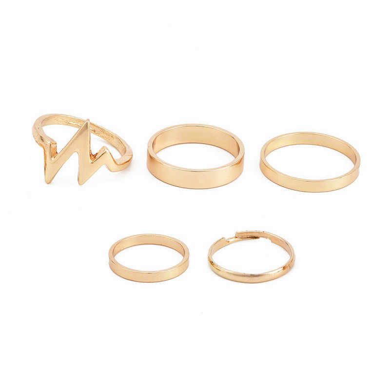 RONGBIN 5ชิ้น/เซ็ตพังก์ร็อกทองกองธรรมดาวงMidiกลางนิ้วk nuckleชุดแหวนสำหรับผู้หญิงกลางแหวนนิ้วบางแหวนแฟชั่น