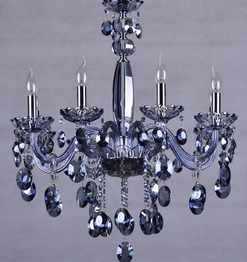 Blue 6-8 pcs Kitchen lighting Led chandelier for dining room Bar Blue glass chandelier sitting room luxury Led cristal lamparas