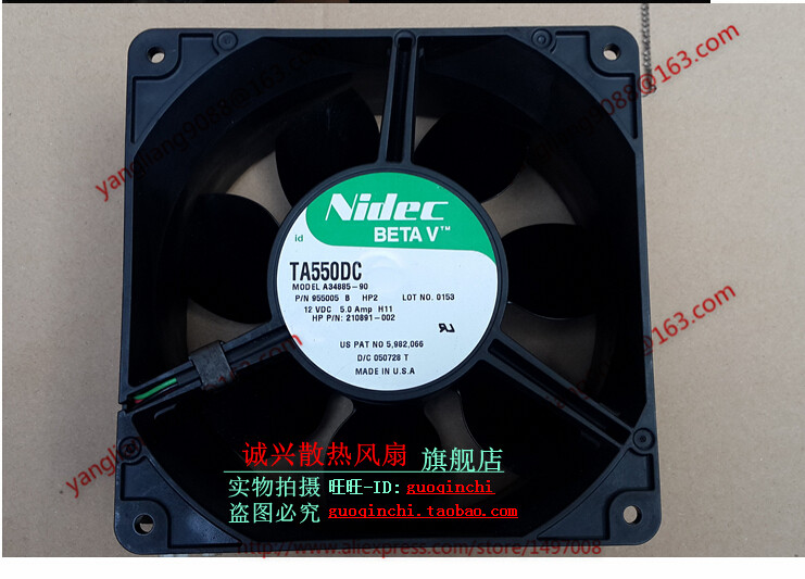 Free Shipping For Nidec A34885-90, HP2 DC 12V 0.5A, 140x140x70mm 3-wire Server Square Cooling Fan original for nidec ta550dc a34885 90 14070 12v 5 0a server cooling fans