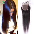 7A Grade 4*4 Virgin Brazilian Hair Silky Straight Lace Closure Cheap Unprocessed Human Hair Free/Middle/3Part Closures Free Ship