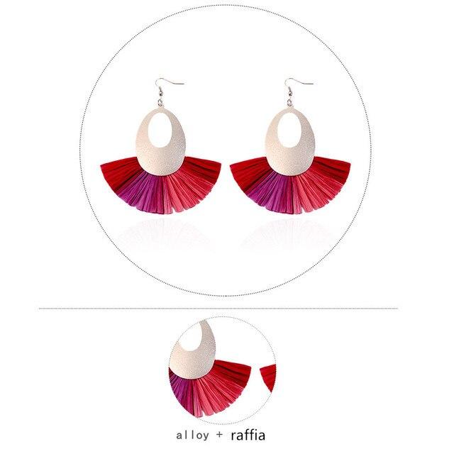 Купить женские серьги подвески ручной работы из рафии