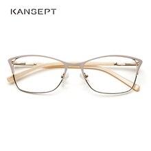 โลหะผู้หญิงแมวตาแว่นตากรอบที่สวยงามแฟชั่นเกรดโปร่งใส Armação De แว่นตาสำหรับผู้หญิง # TWM7554C1