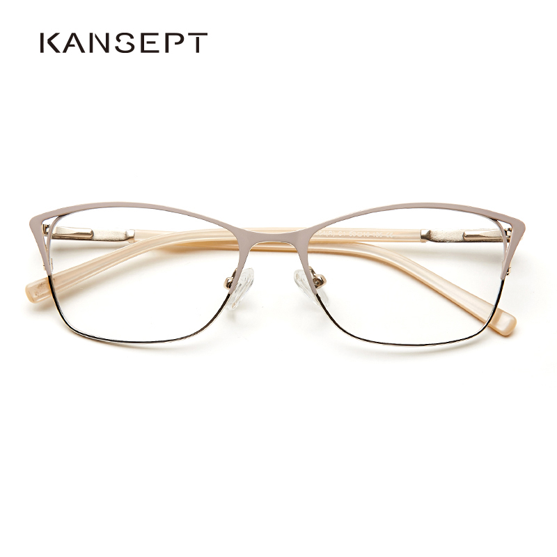 Metal Women Cat Eye Optical Glasses Frame Clear Beautiful Fashion Transparent Grade Armacao De Eyeglasses For Women#TWM7554C1