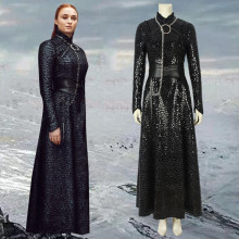 Anime Movie Sansa Stark Cosplay Costume Halloween Costume Outfit Thrones Season 8 Queen Adult Necklace Long Black Dress Suit(China)