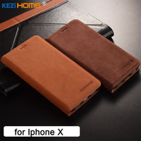 For Iphone X Case KEZiHOME Luxury Matte Genuine Leather Flip Stand Leather Cover Capa For Iphone