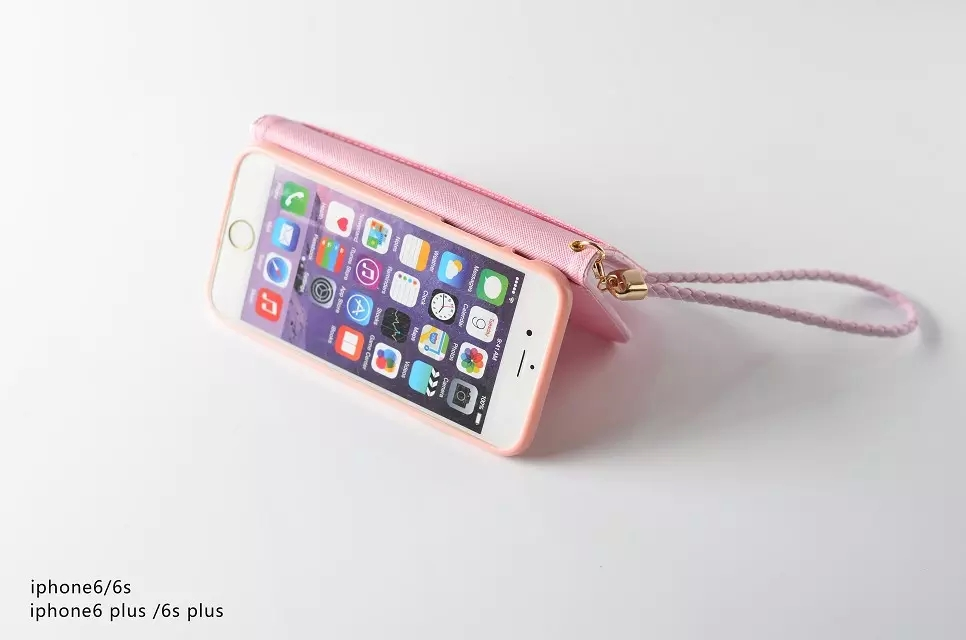 51498d93d Fashion Women Girl Lanyard Hello Kitty Flip Wallet Stand Leather Case For iPhone  7/7 Plus 6 6S / Plus With 6 Card Holders Cover-in Wallet Cases from ...