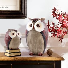 American Vintage Creative Resin owl For The Wine Cabinet Room Office Home Furniture