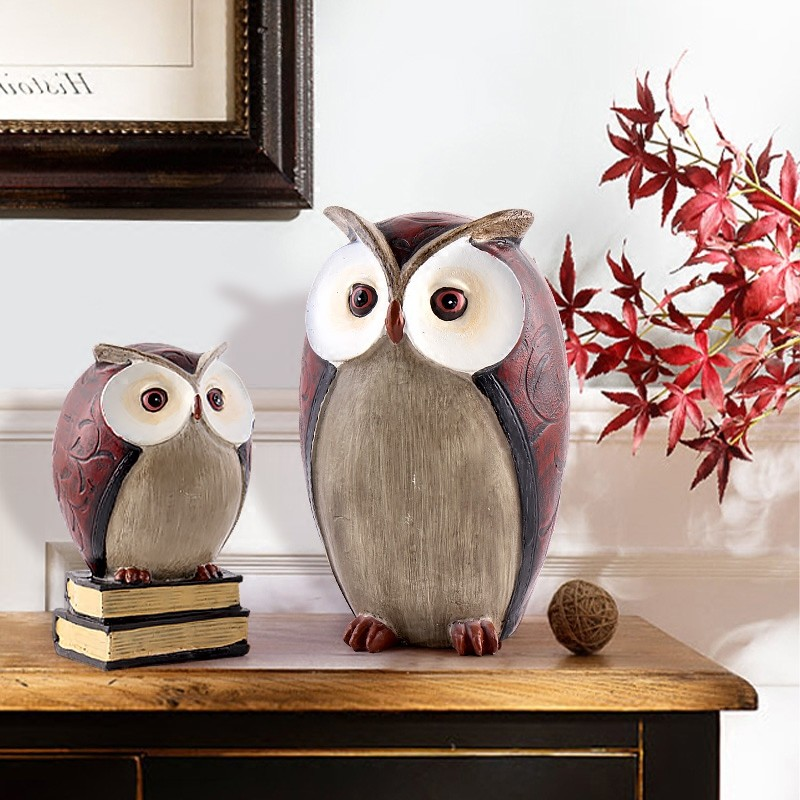 American Vintage Creative Resin owl For The Wine Cabinet Room Cabinet Office Home Furniture