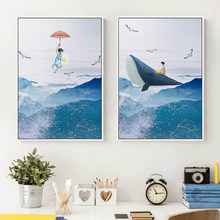 Decoracion Infantil Blue Whale Sea Painting Cartoon Poster Print For Kids Room Nursery Nordic Style Decoration Childish Wall Art(China)