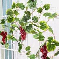 YILIYAJIA Kunstmatige Druivenbladeren lvy Garland Met 2 Druiven Groene Bladeren Voor Tuin Decoratieve Bloemen & Kransen