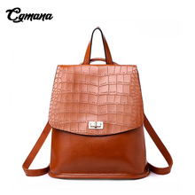 CGMANA Women Backpack 2018 High Quality Leather for Girls Teenagers School Bag Ladies Shoulder Crocodile Prints