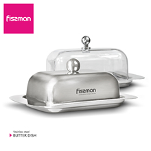 Fissman 304 Stainless Steel Butter Dish Box Container Cheese Server Storage Keeper Tray with Lid Kitchen Dinnerware