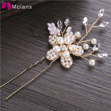 Molans Gading Mutiara Bunga Rambut Tongkat Rajutan Tangan Twisted Paduan Headpieces Bunga Retro Bride Crystal Beads Rambut Tongkat(China)