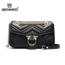 GENMEO Brand New Arrival Double Bees Genuine Leather Handbag with Chain Shoulder Strap and Metal Lock Feminina Bolsa