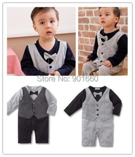 Baby Stripes Vest Style Gentleman Boy Grow Long Sleeved Bodysuit Romper Onesie