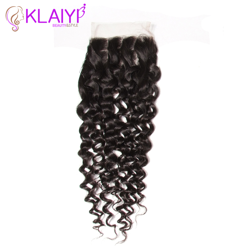 Klaiyi Hair Closure Brazilian hair Lace Closure 4x4 Size Free Part Middle Part Three Part Human