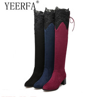 YIERFA Spring Autumn Women Over The Knee Boots Square High Heel Woman Thigh High Boots Plus