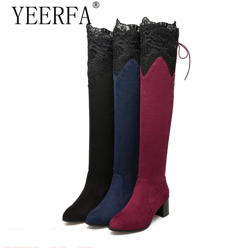 YIERFA Spring Autumn Women Over the Knee Boots Square High Heel Woman Thigh High Boots Plus Size 34 - 40 41 42 43 44 45 46 spring autumn women over the knee boots thick high heel woman thigh high long boots high quality plus size 34 40 41 42 43 botas