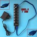 Новый ABS 7 Портов USB 3.0 КОНЦЕНТРАТОР Сплит Вкл/Выкл Адаптер питания Кабель с 5 В 1A Адаптер Питания Для Ноутбуков обои для рабочего