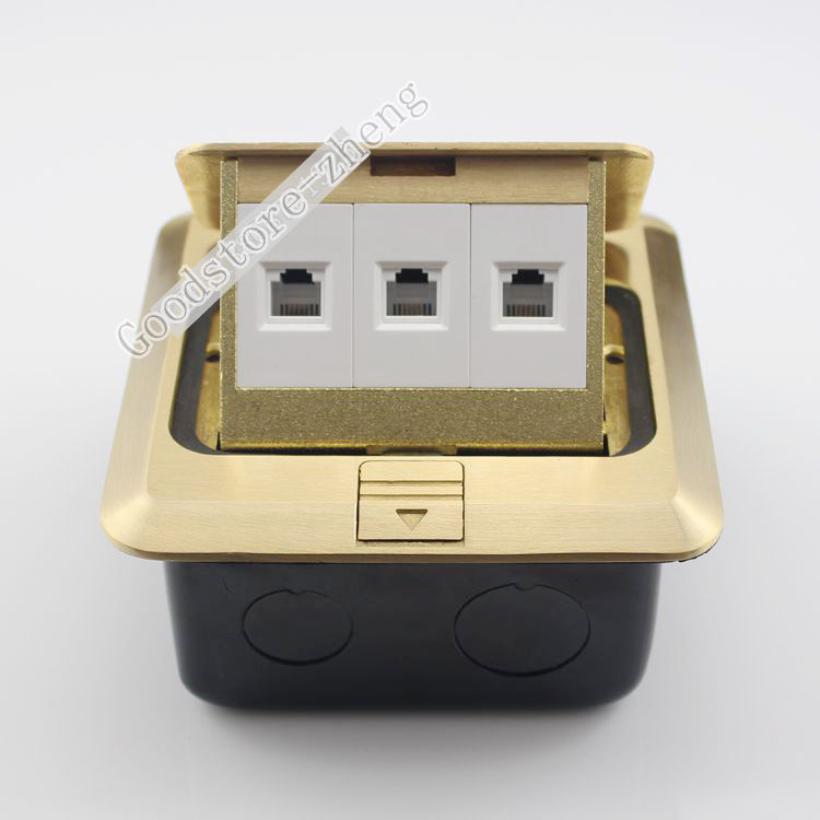 Bronze Pop-up Floor Panel Ground Outlet 3 Ports RJ11 Telephone Socket Receptacle manufacturer all copper panel internet and telephone jack with 16a 3 pin pop up floor socket electrical outlet