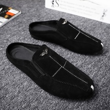 Peas shoes summer new mens half a car driving pedal lazy England wild trend casual