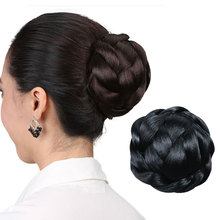 HiDoLA  Chignon Wig Synthetic Hair Piece Braided Clip In Bun High Temperature Fiber Donut Rollers