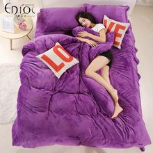 Thick Winter Warm Flannel 4pcs Solid Printed Bedding Set Suit Bed Sheet/Duvet Cover/Pillowcase Twin/Queen Free Shipping R-242