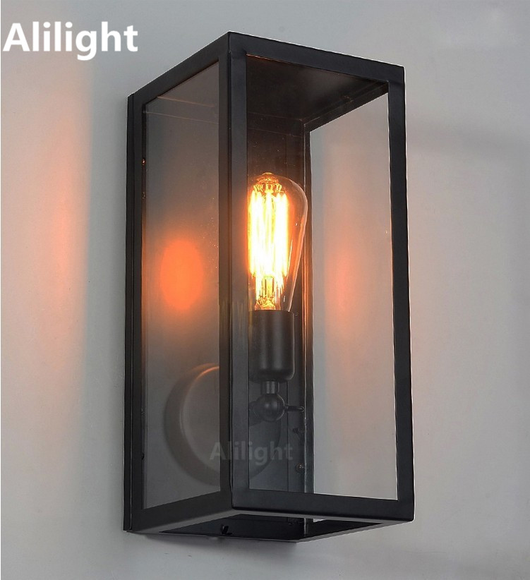 Clear glass cover outdoor retro e27 wall light metal frame glass clear glass cover outdoor retro e27 wall light metal frame glass vintage wall lamp night lighting fixture aisle sconce home deco in wall lamps from lights mozeypictures Gallery