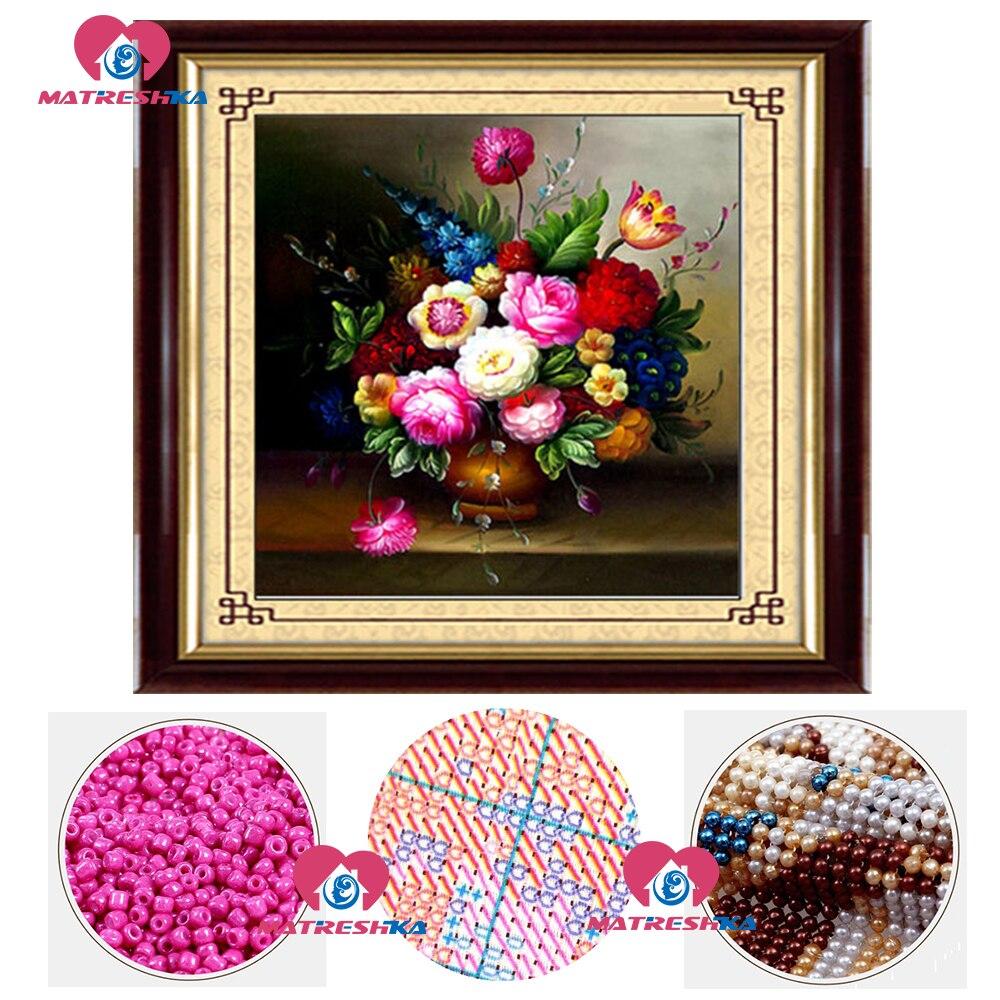 Bricolage point de croix perles broderie fleur vase perlage décoration maison artisanat couture accessoires perle pleine perles broderie