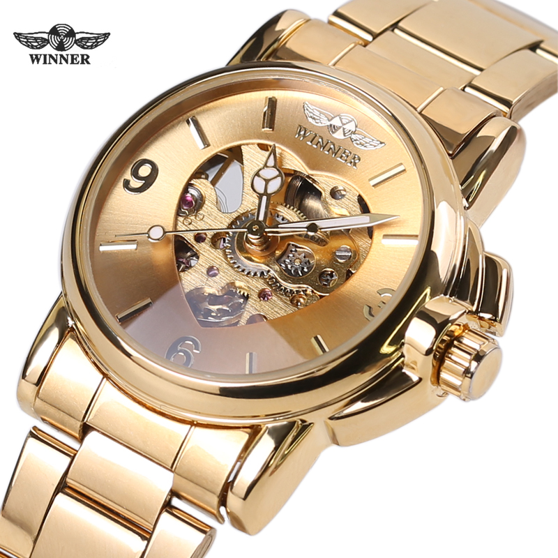 Winner Woman Watch Female Mechanical Skeleton Wristwatch 2016 Fashion Stainless Steel Casual Stylish Lady Gift Fress Shipping