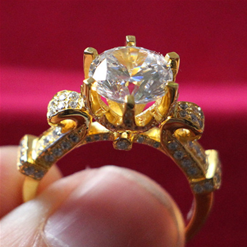 24K Yellow Gold Plate Marriage Ring Custom Jewelry 3Carat SONA Diamond Ring Engagement Sterling Silver Propose