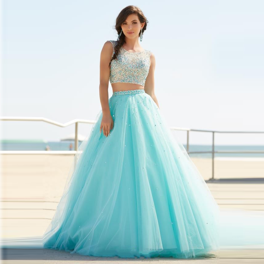 Two Pieces Long Prom Dresses 2016 Elegant Aqua Tulle Beaded ...