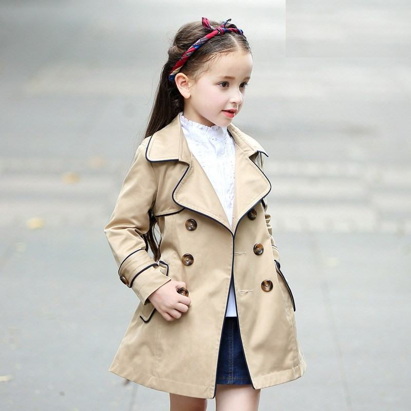New Spring Autumn Teenage Girls Solid   Trench   Coat Baby Girl Double Breasted   Trench   Overcoat Kids Clothes Windbreaker Jacket Y22