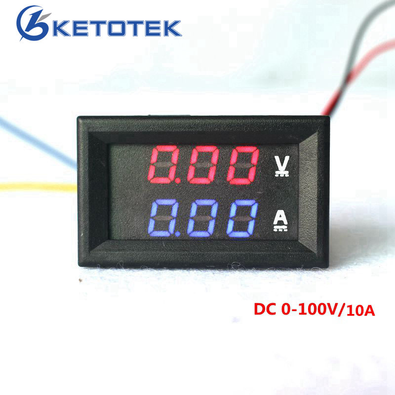 Car Red Blue LED DC 0-100V/10A Motorcycle Digital Amp Meter Volt panel Meter Gauge Ammeter Voltmeter digital rf rp sma female to y type 2x ts9 male splitter combiner cable pigtail rg316 one sma point 2 ts9 s197 connector free shipping