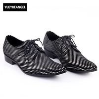 Brand New Handmade Genuine Leather Lace Up Oxford Crystal Men Dress Shoes Mens Block Heels Evening