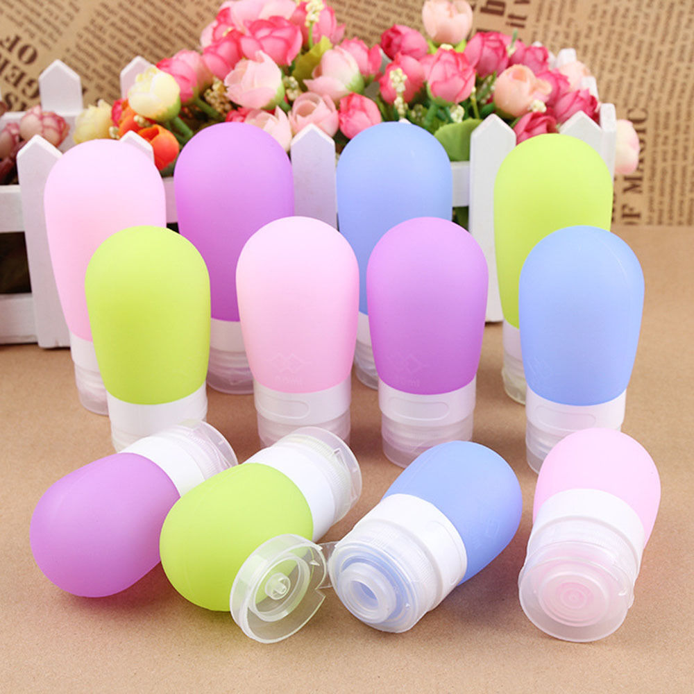 Fashion Candy Color Silicone Travel Bottles Cosmetic Shampoo Lotion Container CN beauty girl 4pcs travel packing silicone press bottles set lotion shampoo bath container dec 6